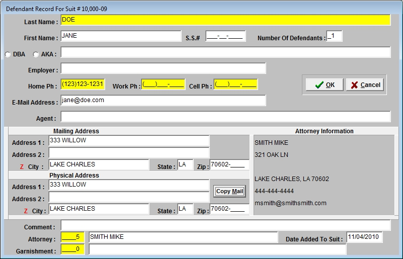 Add Plaintiffs/Defendants screen