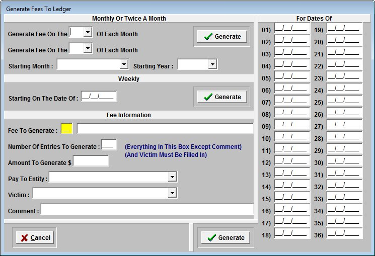 Probation Fee Generator Screen